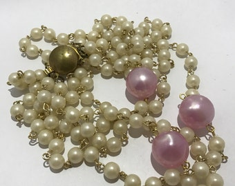 CLEARANCE - Style lucite beads multi strand necklace beads etrose bombon. Lucite pink candy vintage beads