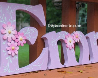 Baby Girl Nursery, Wooden Wall Letters, Custom Letters, Lavender, Floral Design, Pink Flowers