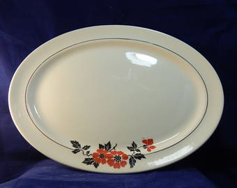 """Vintage Hall's Red Poppy Large Platter - Superior Quality Dinnerware China - 13.5"""" by 10.5"""" by 2"""" Made in USA with HD Mark  circa 1940's"""