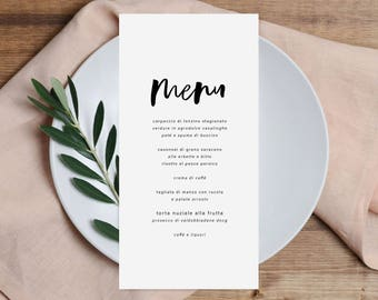 MODERN HANDWRITTEN printable Wedding Menu,simple Long Menu printable,minimal Wedding reception Menu,modern calligraphy Menu