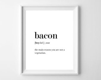 Definition Print Bacon, Definition Print, Funny Wall Art, Dictionary Print, Funny Definition, Gift For Foodie, Gift For Food Lover