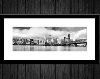 "B&W Portland Skyline Panorama | ""Portland Black and White"" 