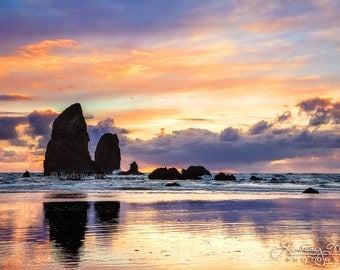 "Oregon Beach Photo | ""Cannon Beach Reflection"" 