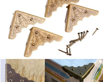4 Pcs Antique Metal Corner Decorative Protector Jewelry Box Gift Wine Chest  Box Wood Case Feet