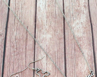 Louisiana Script Necklace & Earring Set