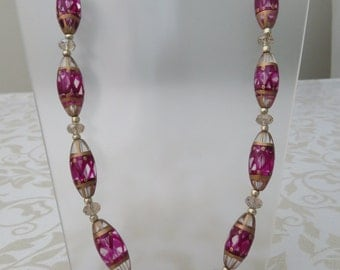 Glass Venetian style/crystal cerise pink necklace
