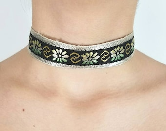 Woven Floral Ribbon Choker made from Vintage Trim with Adjustable Chain & Clasp