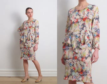 80s Watercolor Floral Crinkled Peplum Dress / M