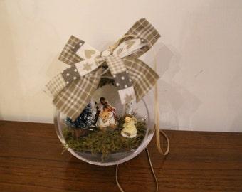 Christmas ball with mini Nativity set