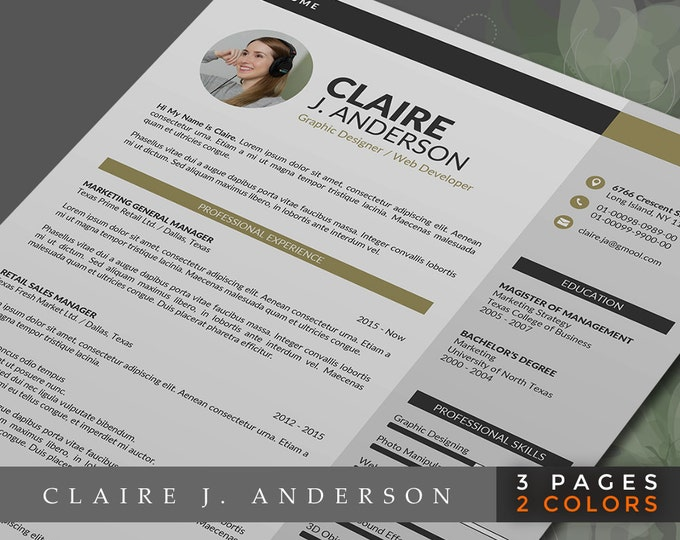Professional Resume Template Word Format, 3 Pages Word Resume Design and Cover Letter in 2 Colors, Easy to Edit CV Template