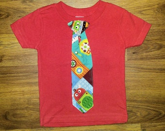 Red Cotton T-shirt with Robot Tie