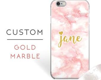 Phone Case Custom iPhone 7 case Gold iPhone 7 plus case with heart iPhone 6,6s,6 plus case pretty iPhone case pink iPhone 5s,6s plus case