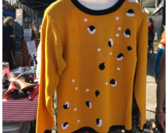 80s Yellow Circle Print Vintage Pullover Sweater