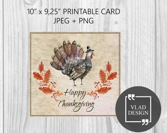 9.25''x 10'' digital Thanksgiving Day cards Watercolor Thanks cards Turkey DIY Printable cards Greeting cards Give thanks card