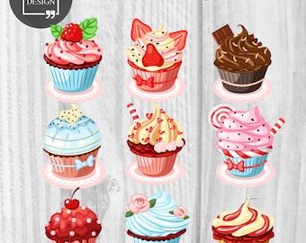9 Cupcakes Clipart Love Cupcake Clipart Digital Cupcake Element Love Cakes graphics Valentine's clipart Wedding cupcakes Birthday cupcakes