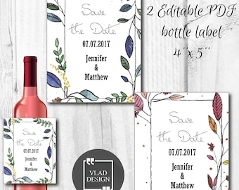 2 Design Editable PDF Wedding Wine bottle label Save the date bottle sticker DYI Printable wrapper Custom wine bottle sticker Alcohol label