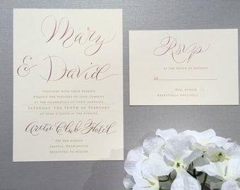 Cheap alternative to rose gold foil wedding invitations. Hand written rose gold wedding invitations. Modern rose gold wedding invitations