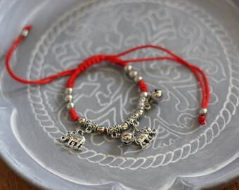 Elephant Bracelet - Red Elephant bracelet - Good Luck Elephant Bracelet - Indian Elephant Bracelet-Money Bracelet