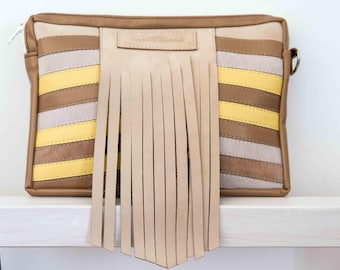Beige, brown, yellow leather cover for tablet/pad