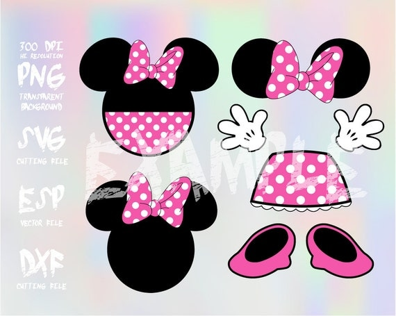 Minnie Mouse Body Parts Clipart Svg Png 300dpi Esp