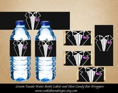 Tuxedo Wedding Water Bottle Labels, Tuxedo Mini Candy Bar Wrappers, Groom Labels, Wedding Favors, Bachelor Party, Bride and Groom, Best Man
