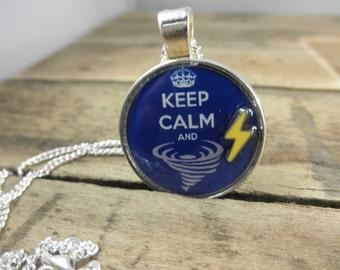 Keep Calm and Tornado, Tornado Jewelry, Keep Calm Jewelry, Keep Calm Necklace, Tornado Necklace, Meteorologist Jewelry