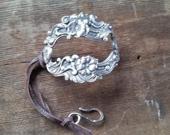 Vintage Sterling Silver Pin Repurposed into a Bracelet with a Leather Closure
