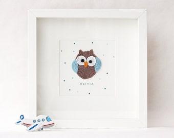 Owl Nursery Wall Decor, Nursery Wall Art, Name Wall Art, Nursery Decor, Unique baby Gift, Framed Nursery Art, Animal wall art