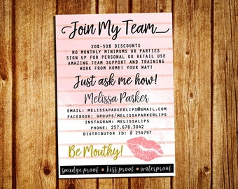 LipSense Join My Team Card - SeneGence Join My Team - Personalized - YOU PRINT - 4x6 and 5x7