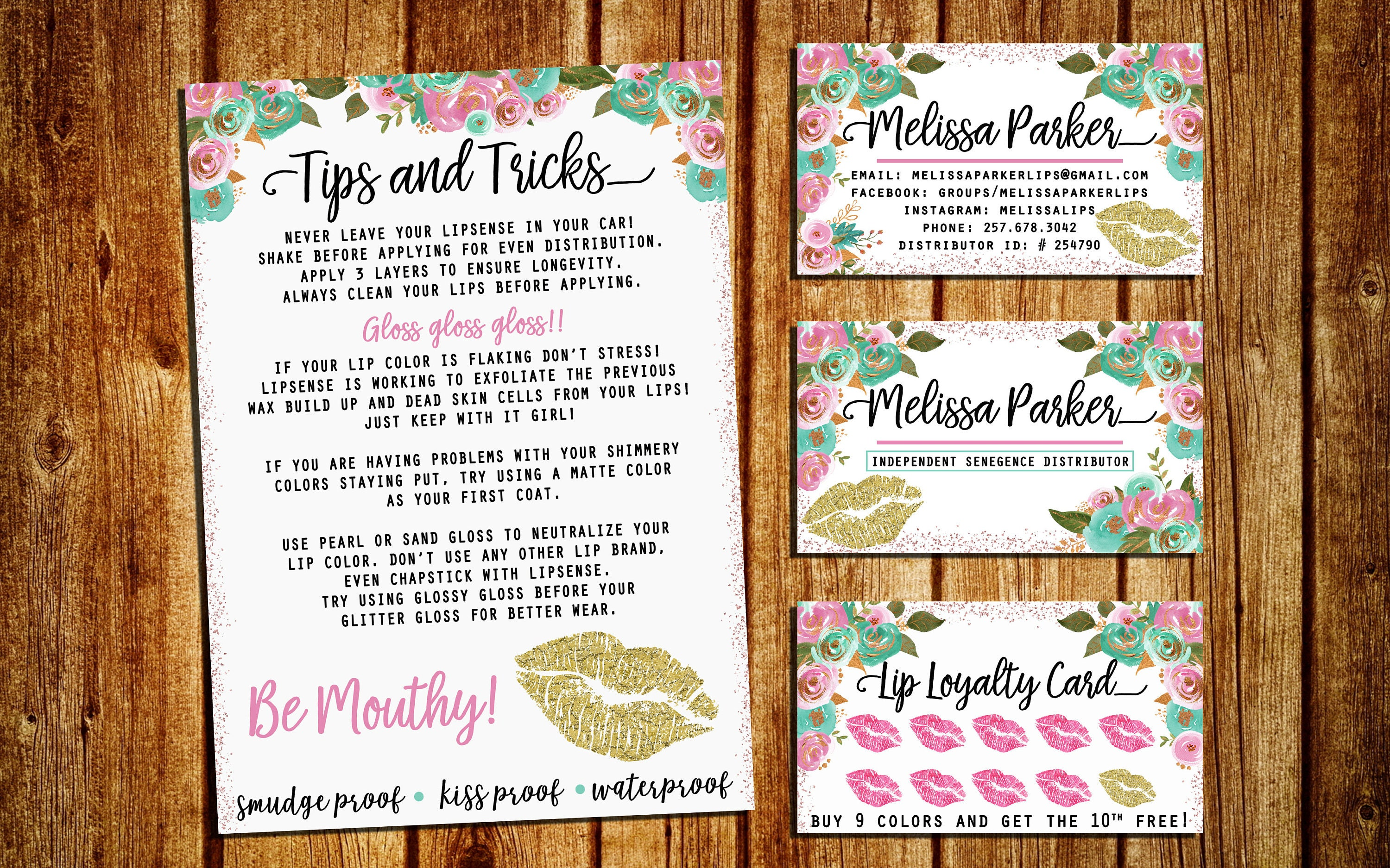 lipsense business card with tips and tricks loyalty card