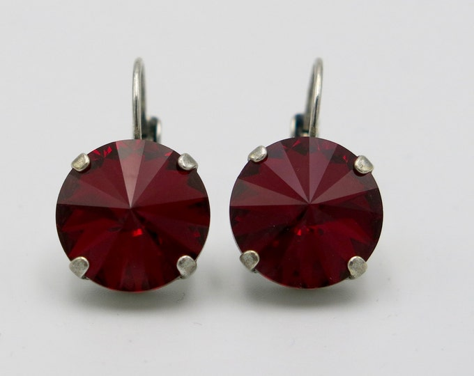 Valentines's ruby red siam Swarovski crystal rivoli dangle drop lever back elegant earrings. Red hot gift idea for Valentine's day!