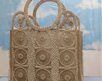 Raffia bag. Vintage straw handbag. Handbag vintage.