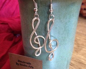 Treble clef earrings, silver dangle earrings, music jewelry, silver treble clef, music lover, gift for musician, handmade jewelry