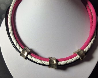 Leather chain pink black and white