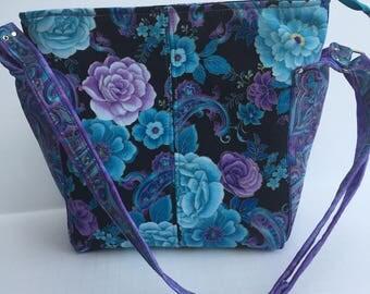 Classic Teal and Purple Flowered and paisley shoulder bag, Ellen's Esplanade Purse