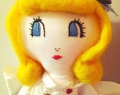 Alice in Wonderland 1950s inspired Art Doll OOAK Soft Sculpture
