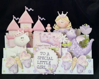 Fairytale Kingdom 3D Greeting Card-To A Special Little Girl-Fairytale Princess, Princess, Princess Castle, Handmade, Magic Dragon-Tiara