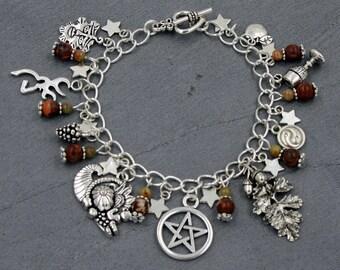 Pagan/Wiccan Charm Bracelet - Sabbats - Mabon with Brecciated Jasper & Autumn Jasper. Wicca, Witch, Autumn Equinox