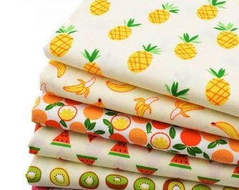6 coupons fabric patchwork Cotton sewing 40 x 50 cm FRUIT 250217