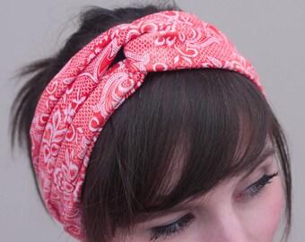 Stretchy Turban Headband - Red Printed White Lace Stretchy Headband - Yoga Headband - Workout Headband - Hair Accessory