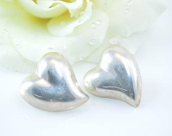 Curved Heart Post Earrings Sterling Silver 14.8g