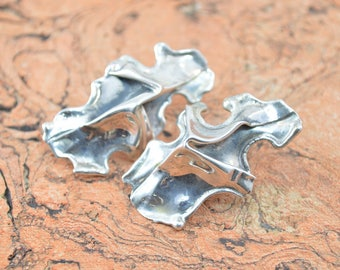 Abstract Folded Form Post Earrings Sterling Silver 10.2g
