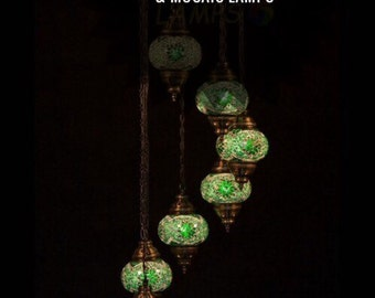 Turkish mosaic sultan 7 chandalier hanging lamp handmade lamps colorful glass arabian lamps