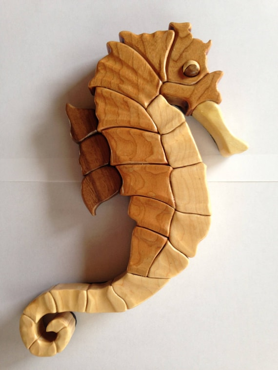 wood intarsia seahorse pattern only