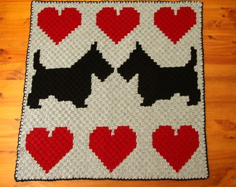 Scottish Terrier Blanket - Dog Blanket - Crochet Dog Blanket - Dog Afghan - Lap Blanket - Throw Rug - Handmade Blanket