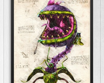 Plants vs Zombies print, Plants vs Zombies poster, Chomper poster, Chomper print, PVZ game poster, N.006