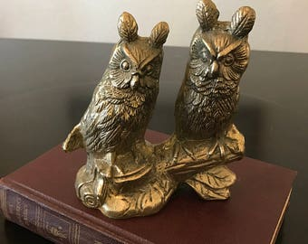 Vintage Brass Owls on a Branch/ Brass Owl Duo