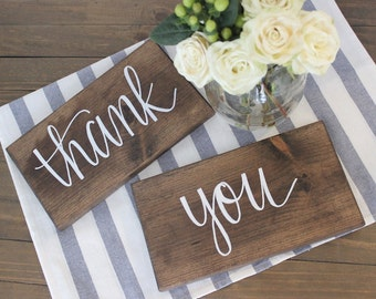 Wedding Thank You Sign | Thank You | Wedding Sign | Gift Table Sign | Photo Prop | Wedding Decor | Wood Sign | Hand Lettered