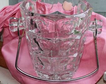 French cristall glass ice box, bisquitbox, antique, Eisbehälter, antik, Silbermontur, Glas