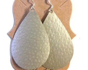 Champagne Colored Teardrop or Feather Earring
